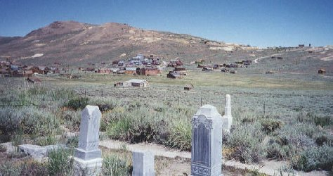 View of Bodie ghost town from cemetary