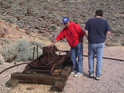 Richard and Shane check out the air compressor engine at the Inyo Mine