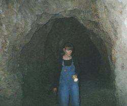 Jami explores a mine shaft
